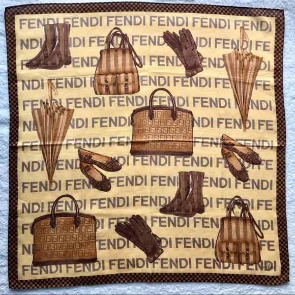 FENDI RARE Mini Scarf Handkerchief FF Cotton bag